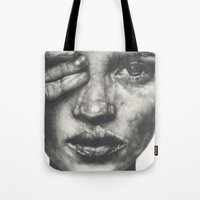 kate bishop Tote Bags featuring Kate  by Lucy Schmidt Art