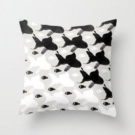 Fish Black White Throw Pillow