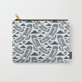The Hawk's Flight_ Beige and Blue Carry-All Pouch