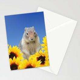 Marmot in sunflower Field Stationery Cards