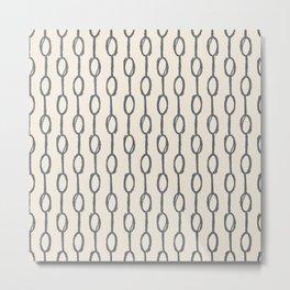 Pebble Dot Stripes Gray on Rose Petal Cream Metal Print