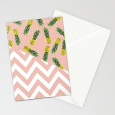 pink pineapple chevron Stationery Cards
