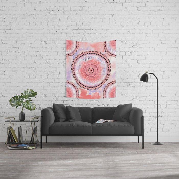 Coral Cloud Mandala Wall Tapestry