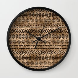 Ancient  Gold and Black Tribal Ethnic  Pattern Wall Clock