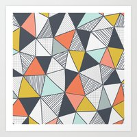 triangles Art Prints featuring Triangles by Patterns and Textures