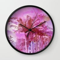 palm trees Wall Clocks featuring Palm trees by Lara Gurney