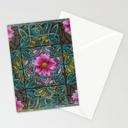 GRUNGY ANTIQUE PINK FLORAL CELTIC PATTERN Stationery Cards