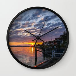sunset at Meersburg, Bodensee Wall Clock