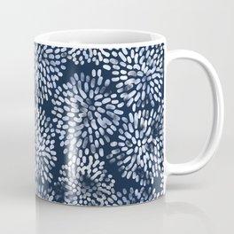 Abstract Navy Watercolor Line Flowers Coffee Mug