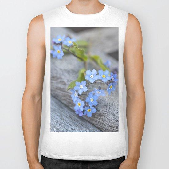 blue flower Fortget Me Not Biker Tank