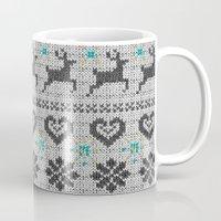 scandinavian Mugs featuring Scandinavian Knitting (Black&White) by Vannina