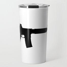 AR15 in black silhouette on white Travel Mug