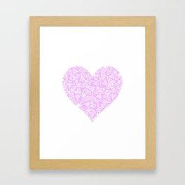 Floral Heart Design Pink and White Framed Art Print
