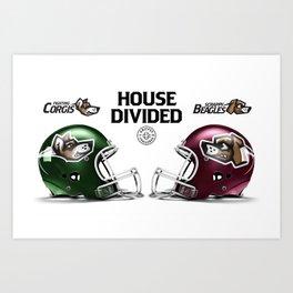 Corgis / Beagles House Divided Art Print