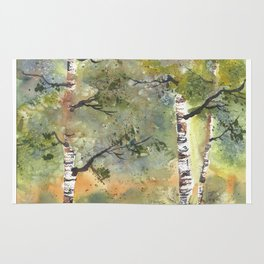 Spring Birch Forest, an original watercolor painting Rug