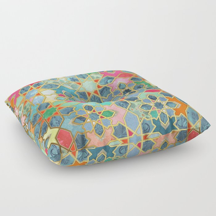 Moroccan Floor Pillows: Colorful Moroccan Mosaic Floor Pillow By