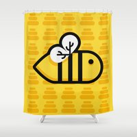 bee Shower Curtains featuring Bee by Liliana P.