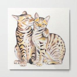 Bengal Cats Love Watercolor Ink Art Metal Print