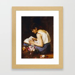 Alexej Alexejewitsch Charlamoff  -  A Girl Reading Framed Art Print