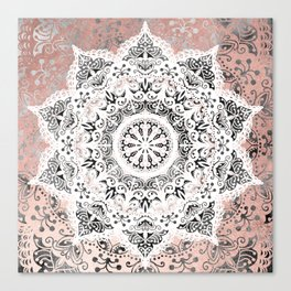 Dreamer Mandala White On Rose Gold Canvas Print