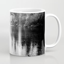 Forest Reflection Lake - Black and White  - Nature Photography Coffee Mug