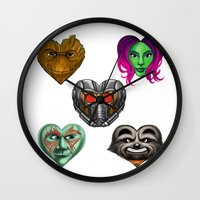 guardians of the galaxy Wall Clocks featuring Guardians of the Galaxy Hearts by Sam Skyler