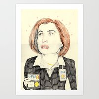 scully Art Prints featuring scully by withapencilinhand
