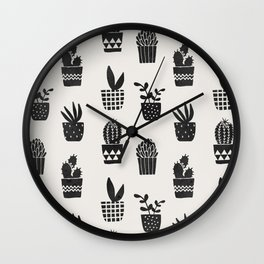 Desert Potted Cactus + Succulents Wall Clock