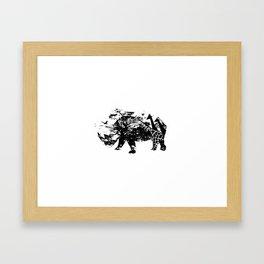 Fierce (Rhino) - Silhouette Wilderness Series Framed Art Print