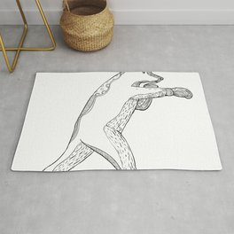 Grizzly Bear Boxing Doodle Art Rug
