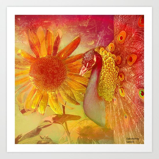 :: Sunflower and Ruebin the Royal Peacock :: by Gale storm and Joe Ganech Art Print