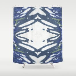Navy Nautical Diamond Pattern Shower Curtain