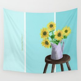 Sunflowers on Blues Wall Tapestry