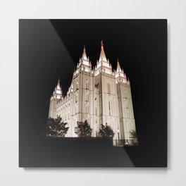 Salt Lake Temple Lit Up at Night Metal Print