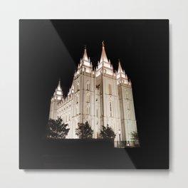 Salt Lake Temple Lit Up at Night Metal Print