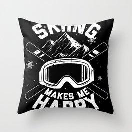 Skiing   Ski Skis Skiers Après-Ski Gift Throw Pillow