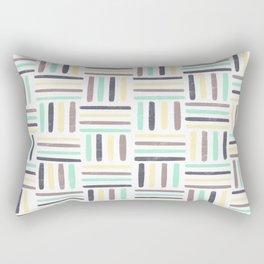 Linear Weave //Basket Weave Design, Pastel colours, green, black, brown, yellow Rectangular Pillow