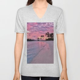 SUNSET AND PALM TREES Unisex V-Neck
