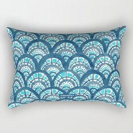 JEWELED SCALES Mermaid Watercolor Rectangular Pillow