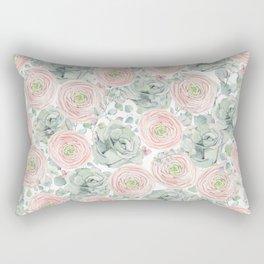 Flowers And Succulents White  #buyart #decor #society6 Rectangular Pillow
