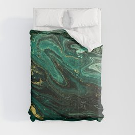 Abstract Pour Painting Liquid Marble Dark Green Teal Painting Gold Accent Comforters