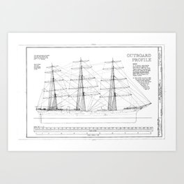 Balclutha Ship Outboard Profile Diagram Art Print