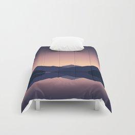 Mountain sunset reflection Comforters