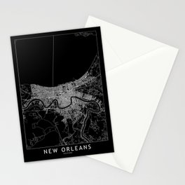 New Orleans Black Map Stationery Cards