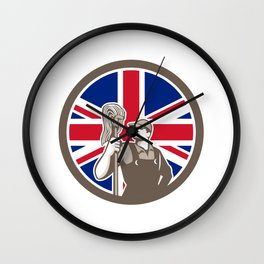 British Industrial Cleaner Union Jack Flag Icon Wall Clock