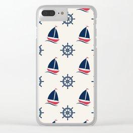 Blue Sea Ship Pattern Clear iPhone Case