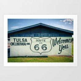 Tulsa Oklahoma on US Route 66 Welcomes You Art Print