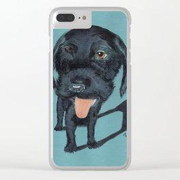Fisheye Black Labradoodle Clear iPhone Case