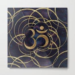 Geometric Om Symbol Gold and Labradorite Metal Print