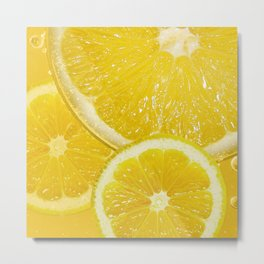 Juicy Lemon Slices Fruit Design Metal Print